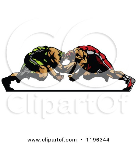 Clipart of Two Strong Male Wrestlers in a Match - Royalty Free Vector Illustration by Chromaco