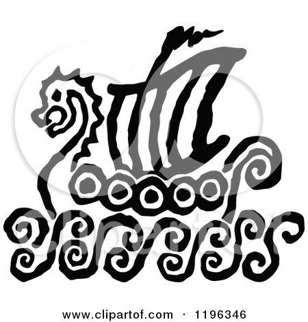 Clipart of a Black and White Viking Ship Sketch - Royalty Free Vector Illustration by Chromaco