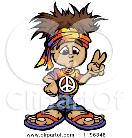 Brunette Hippie Boy Gesturing Peace Posters, Art Prints