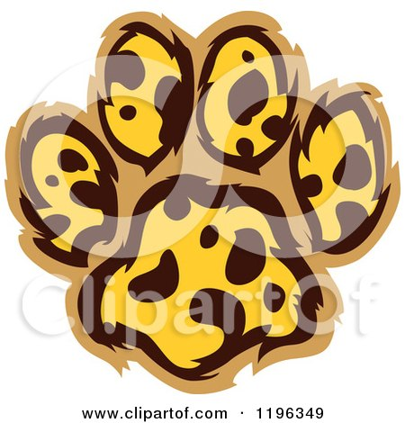 Clipart of a Leopard Patterned Paw Print - Royalty Free Vector Illustration by Chromaco