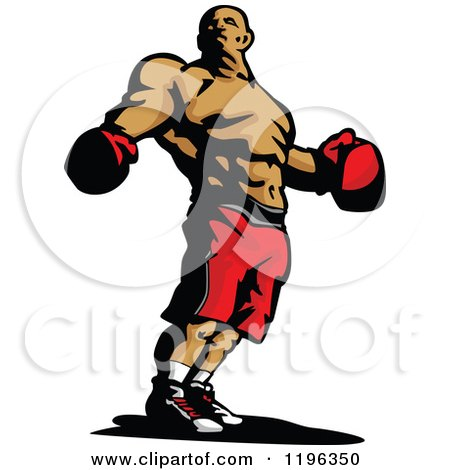 Clipart of a Ripped Male Boxer Wearing Gloves and Shorts - Royalty Free Vector Illustration by Chromaco