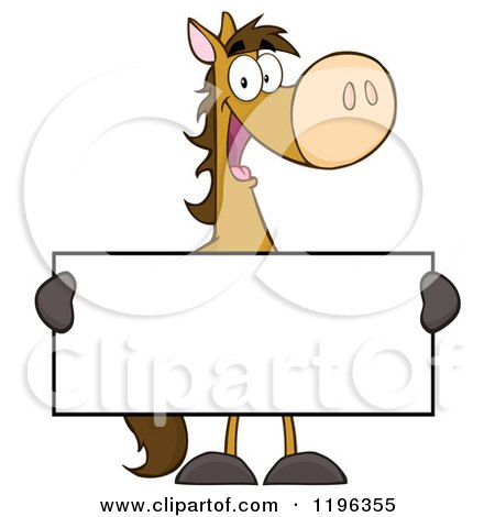 Cartoon of a Happy Brown Horse Holding a Sign - Royalty Free Vector Clipart by Hit Toon