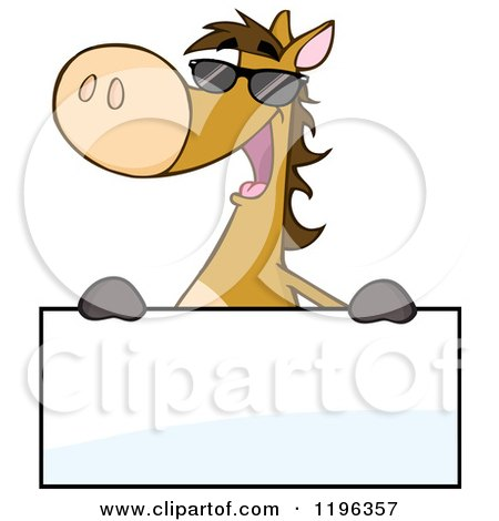 Cartoon of a Happy Brown Horse Wearing Sunglasses and Holding a Sign - Royalty Free Vector Clipart by Hit Toon