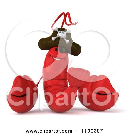 Cartoon Of A 3d Pirate Lobster Royalty Free Vector Clipart