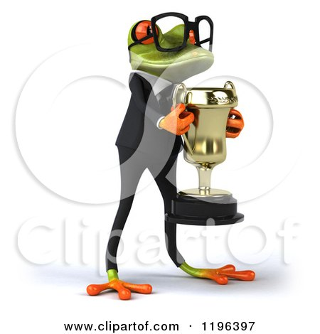 Cartoon of a 3d Formal Frog with Glasses, Accepting a Trophy 3 - Royalty Free Vector Clipart by Julos