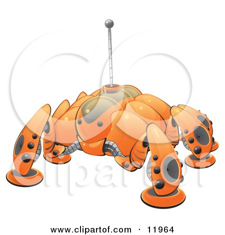 Orange Computer Bug Detection Robot Clipart Illustration