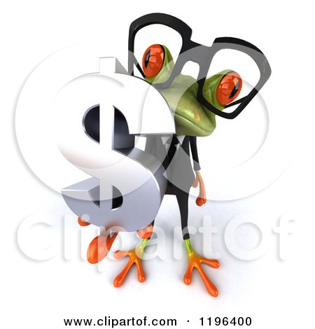 Cartoon of a 3d Formal Springer Frog Wearing Glasses and Holding a Dollar Symbol 3 - Royalty Free Vector Clipart by Julos