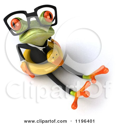 Cartoon of a 3d Formal Springer Frog Sitting with a Duck Inner Tube 3 - Royalty Free Vector Clipart by Julos