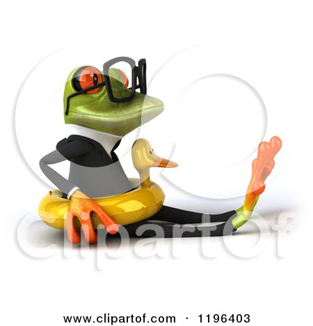 Cartoon of a 3d Formal Springer Frog Sitting with a Duck Inner Tube 2 - Royalty Free Vector Clipart by Julos