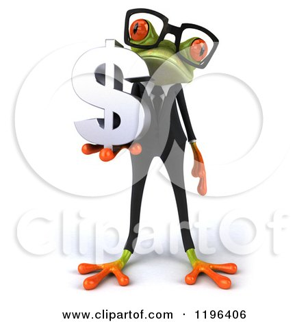 Cartoon of a 3d Formal Springer Frog Wearing Glasses and Holding a Dollar Symbol - Royalty Free Vector Clipart by Julos