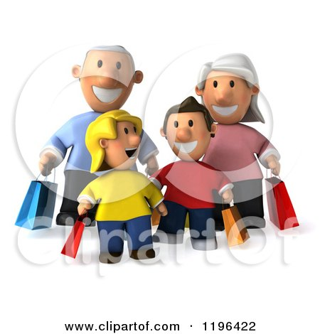 Cartoon of a 3d Happy Family Carrying Shopping Bags - Royalty Free Vector Clipart by Julos