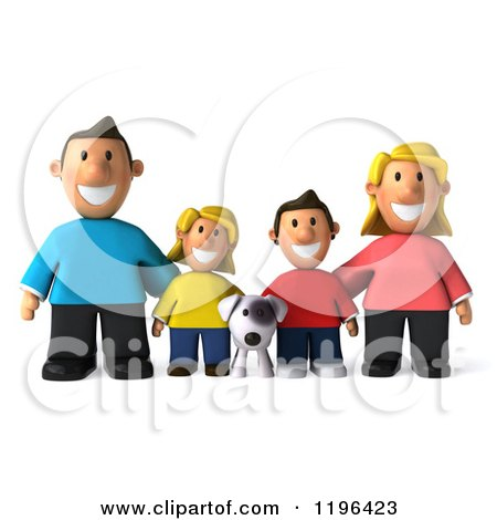 Cartoon of a 3d Happy Family with a Dog - Royalty Free Vector Clipart by Julos