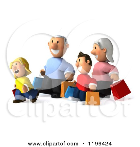Cartoon of a 3d Happy Family Carrying Shopping Bags 2 - Royalty Free Vector Clipart by Julos