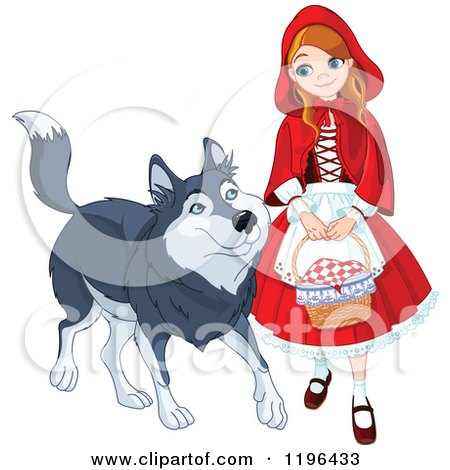 Cartoon of a Happy Red Riding Hood Walking with a Friendly Wolf - Royalty Free Vector Clipart by Pushkin