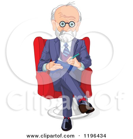 Cartoon of a Gray Haired Male Psychiatrist Taking Notes - Royalty Free Vector Clipart by Pushkin