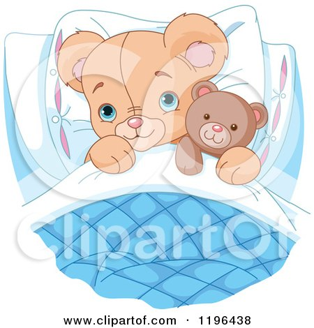 Cartoon of a Cute Teddy Bear Tucked in with a Stuffed Animal - Royalty Free Vector Clipart by Pushkin