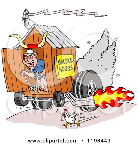 Clipart of a Chicken Running from a Pig on a Hot Rod Smoke House Shack - Royalty Free Vector Illustration by LaffToon
