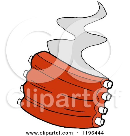 Clipart of Steam Rising from Spare Ribs - Royalty Free Vector Illustration by LaffToon