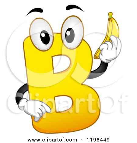 Royalty free clipart illustration of a yellow letter b mascot holding