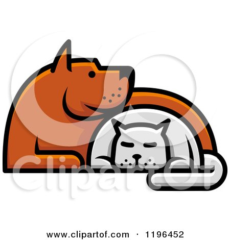 Clipart of Cartoon Cat and Dog Designs - Royalty Free Vector ...