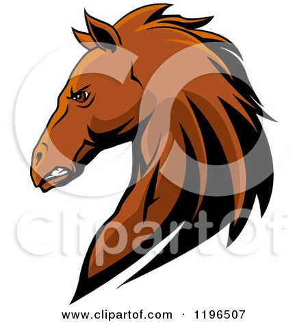 Clipart of a Tough Brown Horse Head in Profile - Royalty Free Vector Illustration by Vector Tradition SM
