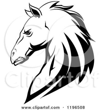 Clipart of a Tough Black and White Horse Head in Profile - Royalty Free Vector Illustration by Vector Tradition SM