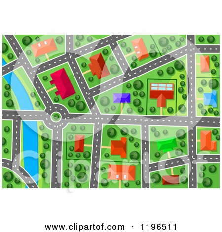 Clipart Of An Aerial Map View Of Houses Buildings And