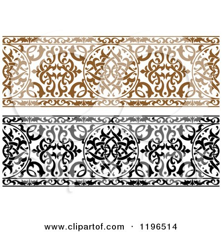 Clipart of Ornate Brown and Black and White Arabic Borders - Royalty ...