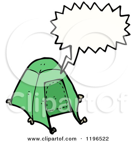 Cartoon of a Tent Speaking - Royalty Free Vector Illustration by lineartestpilot