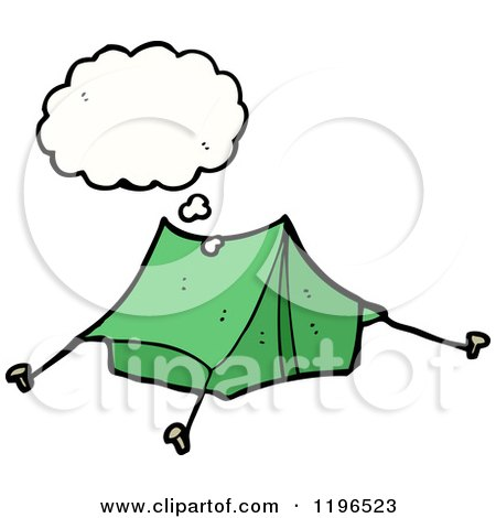 Cartoon of a Tent Thinking - Royalty Free Vector Illustration by lineartestpilot