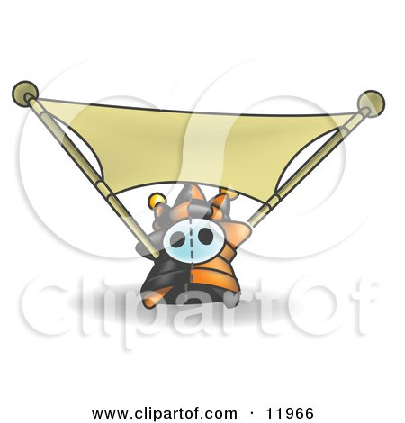 Joker Jester Character Stretching a Blank Banner Clipart Illustration by Leo Blanchette