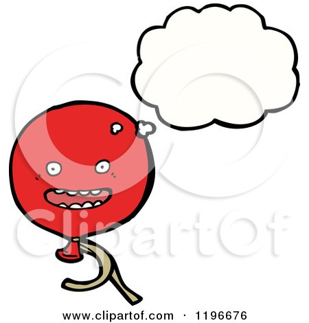 Cartoon of a Balloon Thinking - Royalty Free Vector Illustration by lineartestpilot