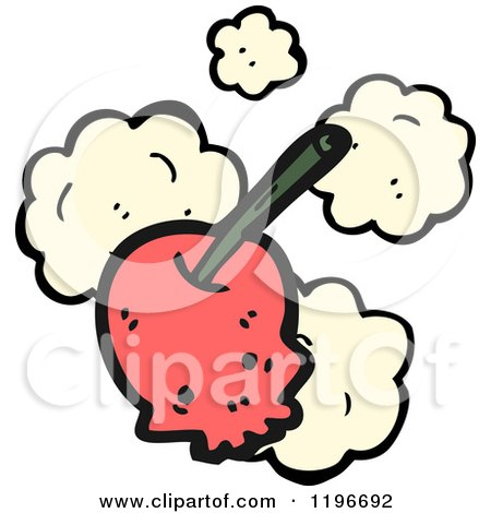 Cartoon of a Skull Cherry - Royalty Free Vector Illustration by lineartestpilot