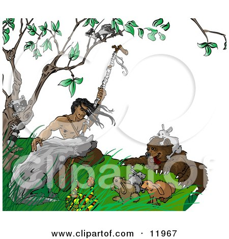 Native American Indian Man Holding a Staff, Surrounded by Wild Animals Clipart Illustration by Leo Blanchette