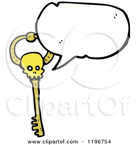 Cartoon of a Gold Skeleton Key Speaking - Royalty Free Vector Illustration by lineartestpilot