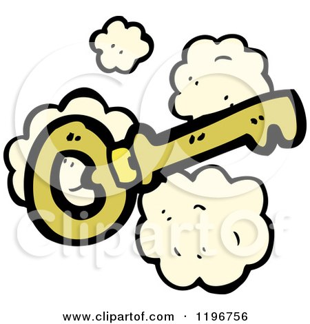 Cartoon of a Gold Skeleton Key - Royalty Free Vector Illustration by lineartestpilot