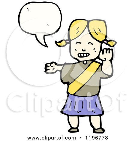 Cartoon of a Little Girl in Pigtails Speaking - Royalty Free Vector Illustration by lineartestpilot