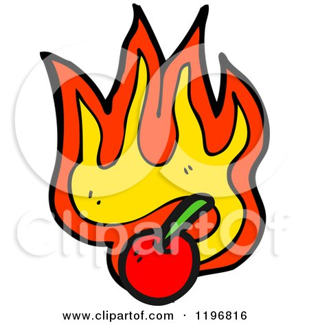 Cartoon of a Flaming Cherry Design Element - Royalty Free Vector Illustration by lineartestpilot