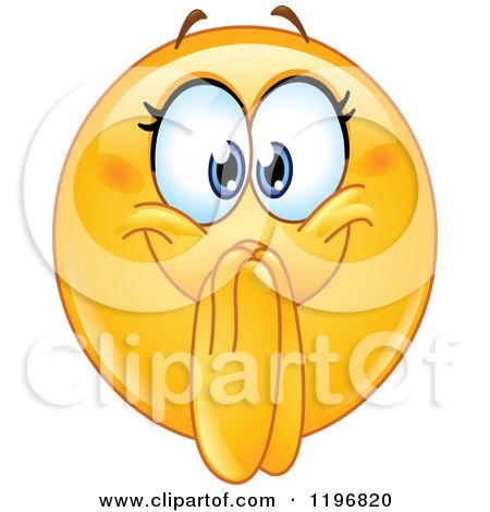 Cartoon of an Excited Femal Emoticon Clasping Her Hands in Front of Her Mouth - Royalty Free Vector Clipart by yayayoyo