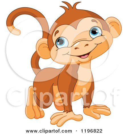 Cartoon of a Happy Cute Monkey with Blue Eyes - Royalty Free Vector Clipart by Pushkin
