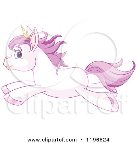 Cartoon of a Cute Purple Princess Pony Wearing a Crown and Running - Royalty Free Vector Clipart by Pushkin