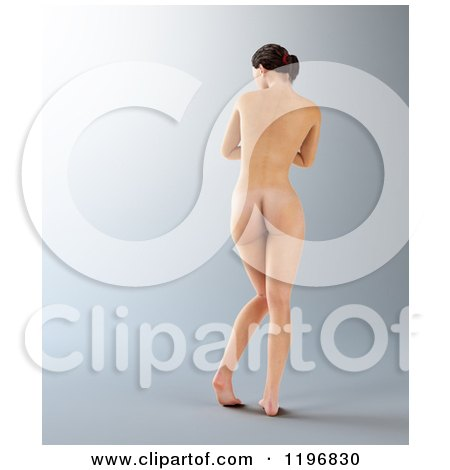 Clipart of a Rear View of a 3d Nude Woman, on Gray - Royalty Free CGI Illustration by Mopic