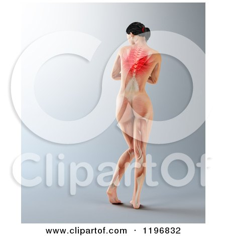 Clipart of a Rear View of a 3d Nude Woman with Visible Upper Back Ache, on Gray - Royalty Free CGI Illustration by Mopic