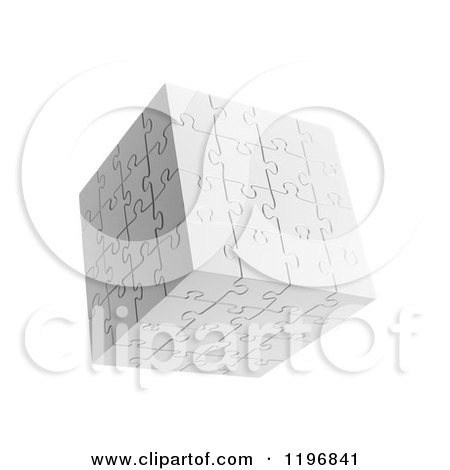 Clipart of a 3d Floating White Puzzle Cube, over White - Royalty Free CGI Illustration by Mopic