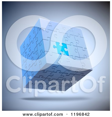Clipart of a 3d Floating Puzzle Cube with One Unique Piece, over Shading - Royalty Free CGI Illustration by Mopic