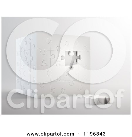 Clipart of a 3d Puzzle Cube with One Piece Unassembled, over Shading - Royalty Free CGI Illustration by Mopic