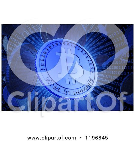 Clipart of 3d Bit Coins in a Binary Vortex - Royalty Free CGI Illustration by Mopic
