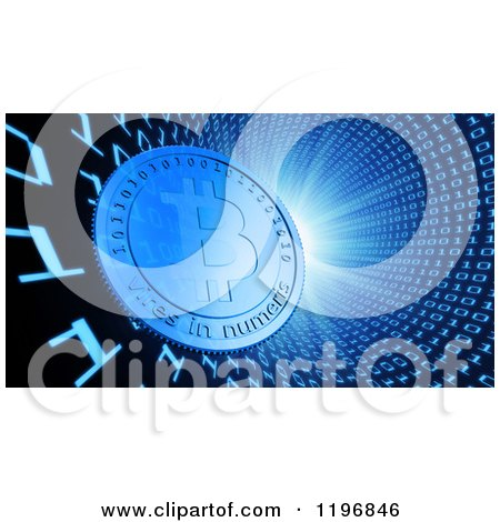 Clipart of a 3d Bit Coin in a Binary Vortex with Bright Light - Royalty Free CGI Illustration by Mopic