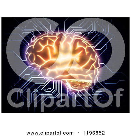 Clipart of a 3d Glowing Brain with Computer Circut Connections, over Black - Royalty Free CGI Illustration by Mopic