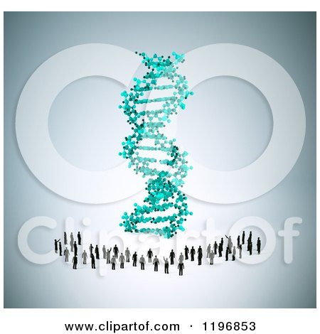Clipart of a 3d Giant Dna Strand and Tiny People, over Shading - Royalty Free CGI Illustration by Mopic